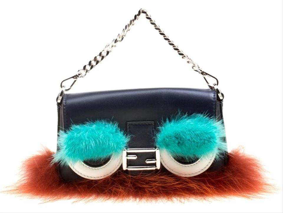 cf2053b8ed Fendi Leather/Multicolor Fur Trim Micro Baguette Pouch Blue Leather Clutch