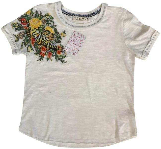 Item - White In The Wild Embroidered Cotton S Tee Shirt Size 4 (S)