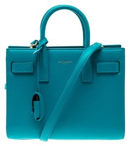 Saint Laurent Leather Suede Tote in Blue