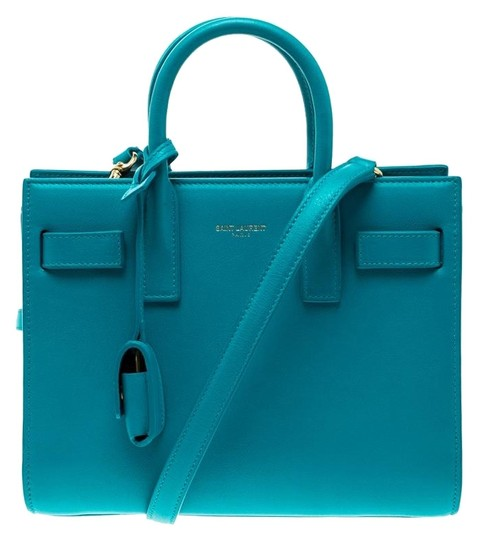 Saint Laurent Leather Suede Tote in Blue Image 0