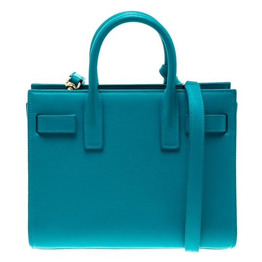 Saint Laurent Leather Suede Tote in Blue Image 1
