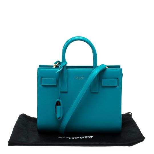 Saint Laurent Leather Suede Tote in Blue Image 10