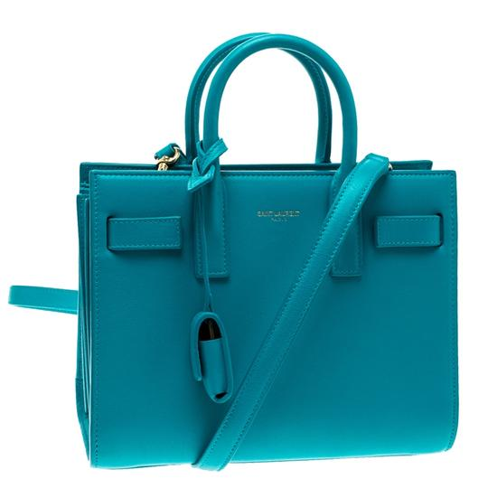 Saint Laurent Leather Suede Tote in Blue Image 6