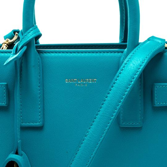 Saint Laurent Leather Suede Tote in Blue Image 9