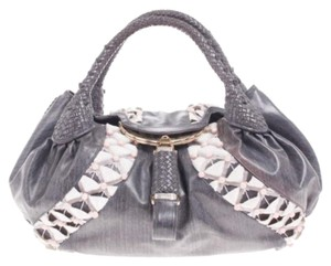 Fendi Canvas Beaded Tote in Grey