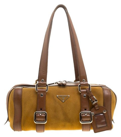 Dark Yellow/Brown Suede And Brown Leather Satchel by Prada