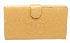 Chanel Chanel Beige Caviar Leather Timeless French Purse Wallet