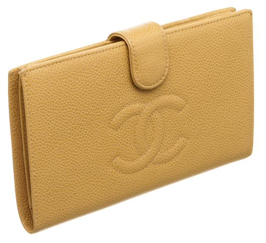 Chanel Chanel Beige Caviar Leather Timeless French Purse Wallet Image 1