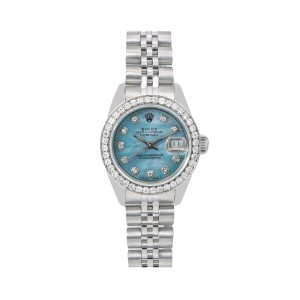 Rolex Rolex Oyster Perpetual Lady Date 69240 26MM Blue Diamond Dial