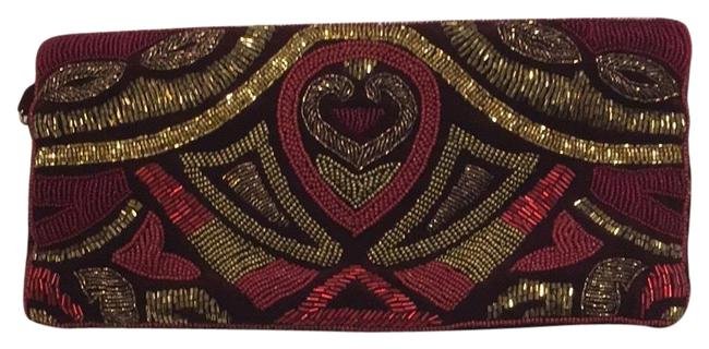 Item - Maroon and Gold Cloth Clutch