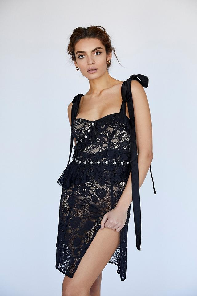 For Love Lemons Black Fabienne Lace Embellished Short Night Out Dress Size 6 S