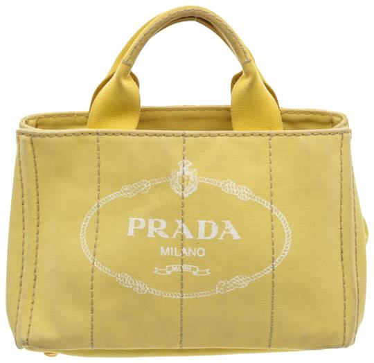 Bag Canapa Small Yellow Canvas Tote by Prada