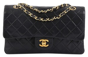 Chanel Vintage Double Flap Satchel in Black