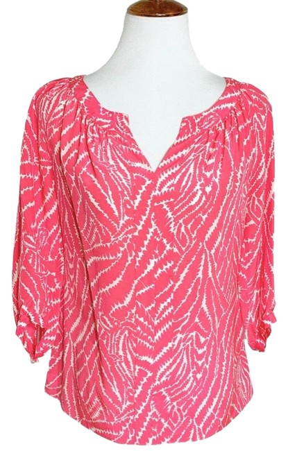 Item - Pink White Silk Bubble Gum Pullover Blouse Size 2 (XS)