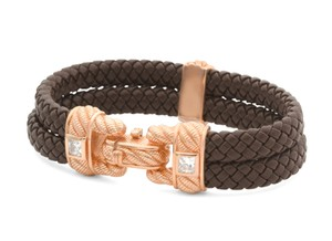 Judith Ripka Braided Leather 925 Sterling Silver