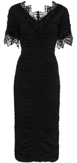 Preload https://img-static.tradesy.com/item/25514320/dolce-and-gabbana-black-lace-trimmed-ruched-silk-blend-georgette-night-out-dress-size-10-m-0-2-650-650.jpg