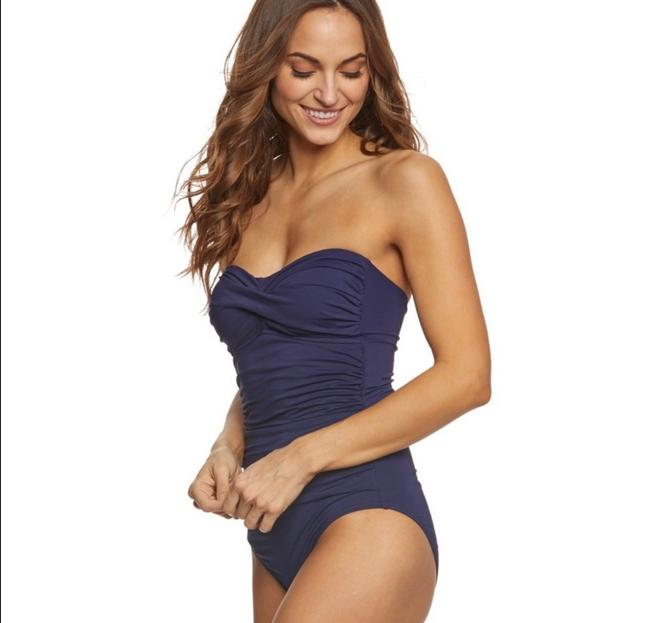 7745c3f1950 ... Anne Cole Anne Cole navy twist front bandeau one-piece swimsuit Image 1
