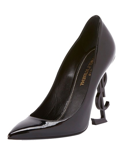 Saint Laurent Ysl Logo Heel Made In Italy Luxury Designer Opyum 110 Patent Leather Black Pumps Image 4