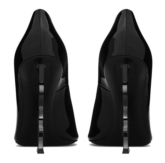 Saint Laurent Ysl Logo Heel Made In Italy Luxury Designer Opyum 110 Patent Leather Black Pumps Image 7