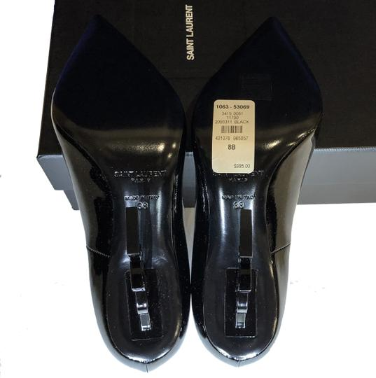 Saint Laurent Ysl Logo Heel Made In Italy Luxury Designer Opyum 110 Patent Leather Black Pumps Image 9