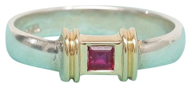 Item - Red Sterling Silver Ruby Yellow Gold Band 6.25 Ring