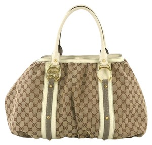 Gucci Canvas Tote Satchel in beige