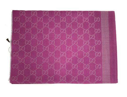 Gucci NEW GUCCI 282390 GG Guccissima Wool Silk Scarf, Hot Pink Image 1