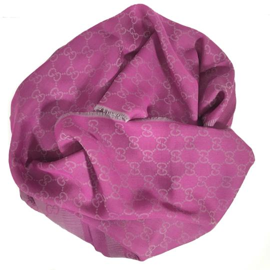 Gucci NEW GUCCI 282390 GG Guccissima Wool Silk Scarf, Hot Pink Image 2