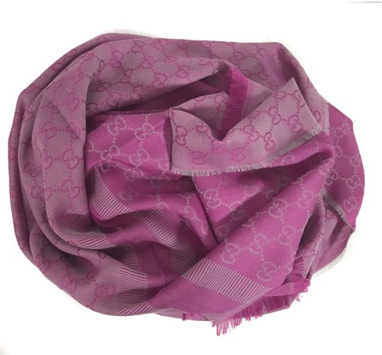 Gucci NEW GUCCI 282390 GG Guccissima Wool Silk Scarf, Hot Pink Image 4