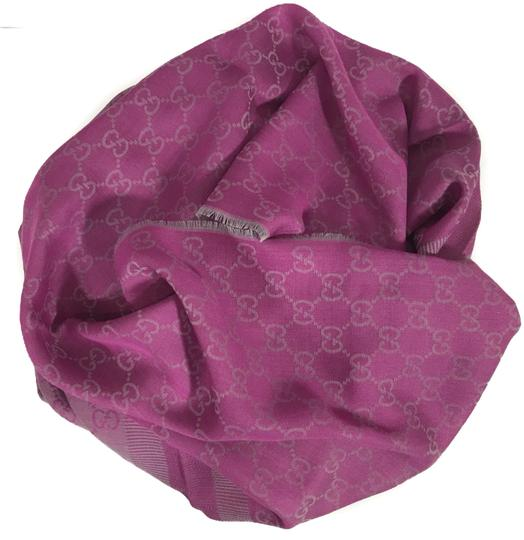 Gucci NEW GUCCI 282390 GG Guccissima Wool Silk Scarf, Hot Pink Image 6