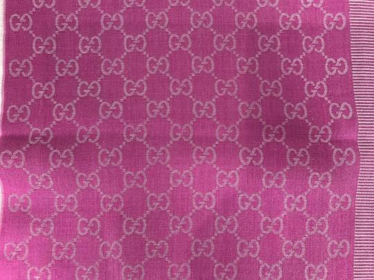 Gucci NEW GUCCI 282390 GG Guccissima Wool Silk Scarf, Hot Pink Image 9