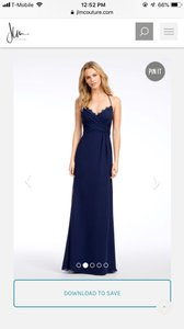 Hayley Paige Collections Navy Blue Chiffon Occasions Formal Bridesmaid/Mob Dress Size 8 (M)