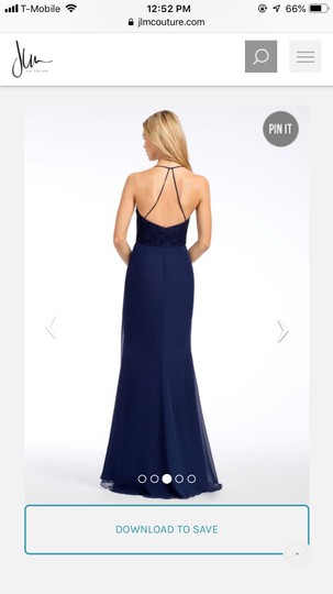 Hayley Paige Collections Navy Blue Chiffon Occasions Formal Bridesmaid/Mob Dress Size 8 (M) Image 1