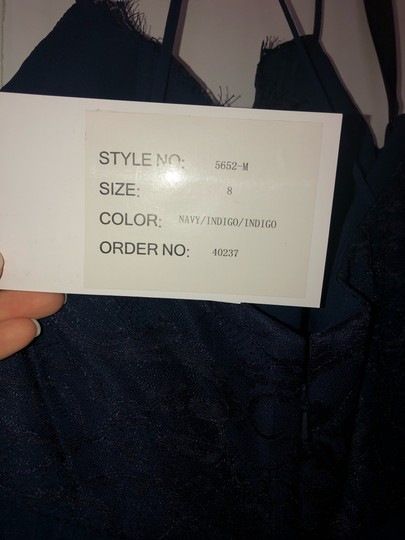 Hayley Paige Collections Navy Blue Chiffon Occasions Formal Bridesmaid/Mob Dress Size 8 (M) Image 3