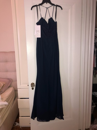 Hayley Paige Collections Navy Blue Chiffon Occasions Formal Bridesmaid/Mob Dress Size 8 (M) Image 6