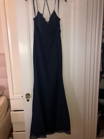 Hayley Paige Collections Navy Blue Chiffon Occasions Formal Bridesmaid/Mob Dress Size 8 (M) Image 7