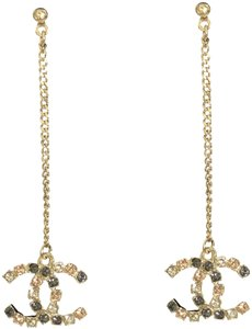 Chanel Chanel Large CC Logo Crystal Charm Gold Chain Drop Statement Earrings
