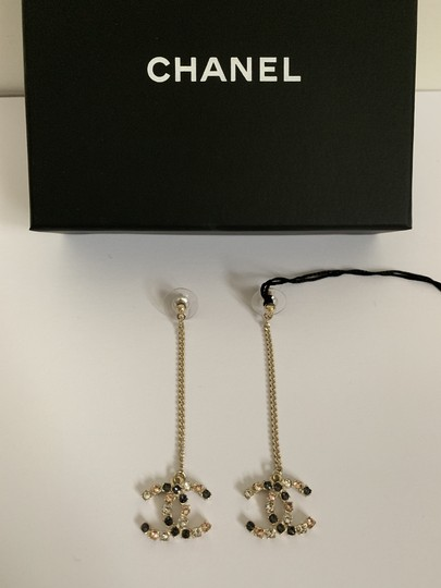 Chanel Chanel Large CC Logo Crystal Charm Gold Chain Drop Statement Earrings Image 1