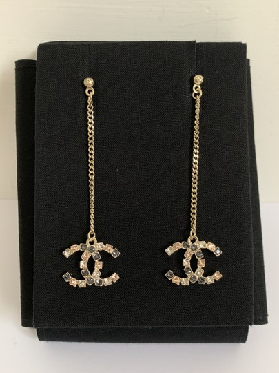Chanel Chanel Large CC Logo Crystal Charm Gold Chain Drop Statement Earrings Image 10