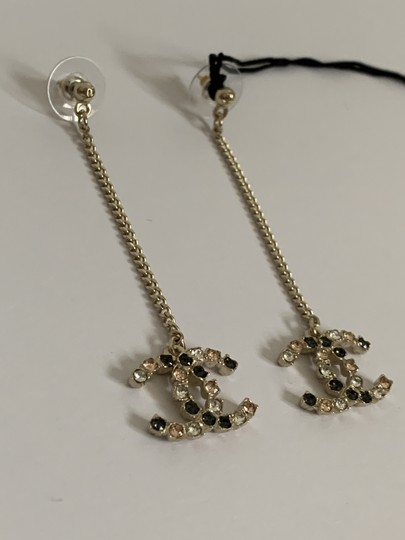 Chanel Chanel Large CC Logo Crystal Charm Gold Chain Drop Statement Earrings Image 3