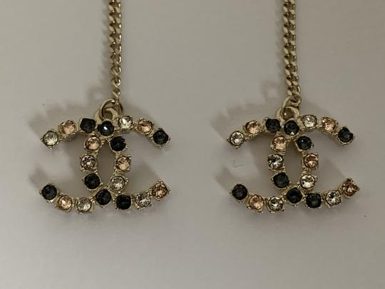 Chanel Chanel Large CC Logo Crystal Charm Gold Chain Drop Statement Earrings Image 4
