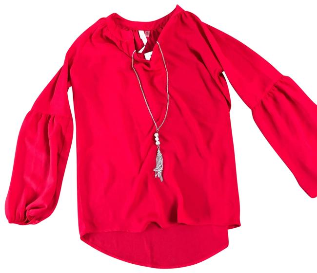 Preload https://img-static.tradesy.com/item/25514766/ny-collection-tango-red-balloon-sleeve-necklace-blouse-size-petite-2-xs-0-1-650-650.jpg