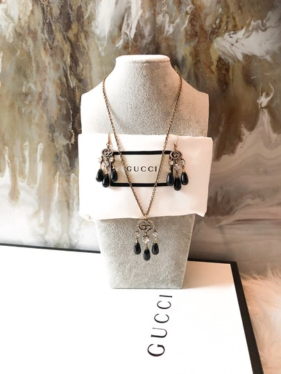 Gucci Gucci Brass Crystal Logo GG Dangle Earrings and Necklace Set Image 1