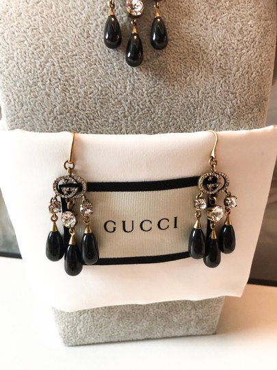 Gucci Gucci Brass Crystal Logo GG Dangle Earrings and Necklace Set Image 2