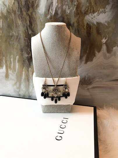 Gucci Gucci Brass Crystal Logo GG Dangle Earrings and Necklace Set Image 4