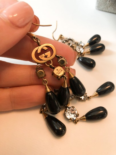 Gucci Gucci Brass Crystal Logo GG Dangle Earrings and Necklace Set Image 5