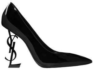 Saint Laurent Patent Leather Ysl Logo Heel Made In Italy Luxury Designer Opyum 110 Black Pumps