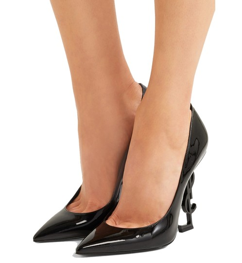 Saint Laurent Patent Leather Ysl Logo Heel Made In Italy Luxury Designer Opyum 110 Black Pumps Image 2