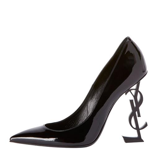 Saint Laurent Patent Leather Ysl Logo Heel Made In Italy Luxury Designer Opyum 110 Black Pumps Image 5