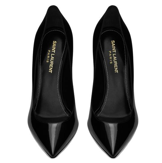 Saint Laurent Patent Leather Ysl Logo Heel Made In Italy Luxury Designer Opyum 110 Black Pumps Image 7